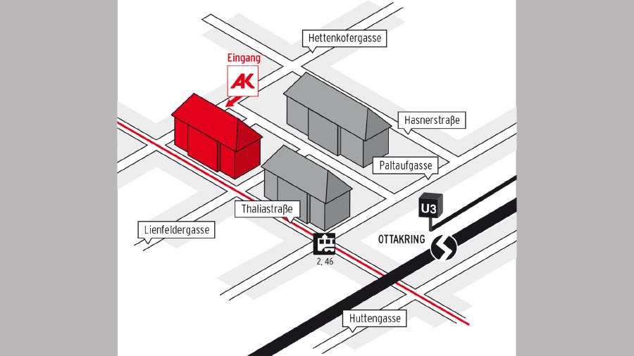 Anfahrtsplan zum Beratungszentrum West - Ottakring © AK Wien