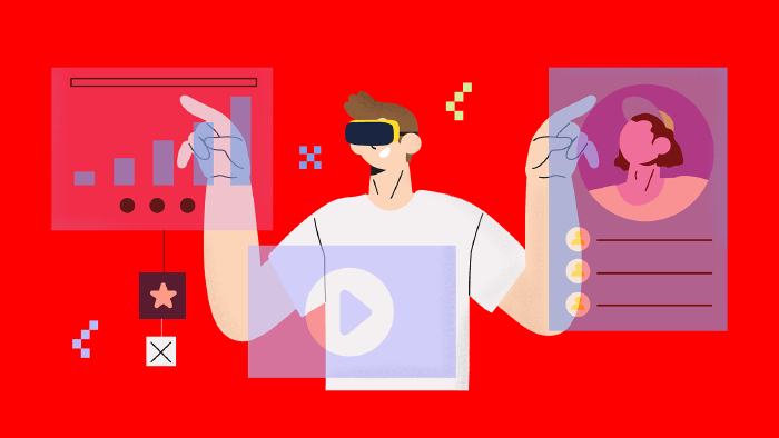 Ein Mann mit AR-Brille bedient vor ihm schwebende transparente Screens voller Daten © Very Nice Studio
