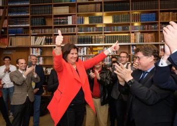 AK Präsidentin Renate Anderl jubelt über das Wahlergebnis und die gestiegene Wahlbeteiligung. © Thomas Lehmann, AK Wien