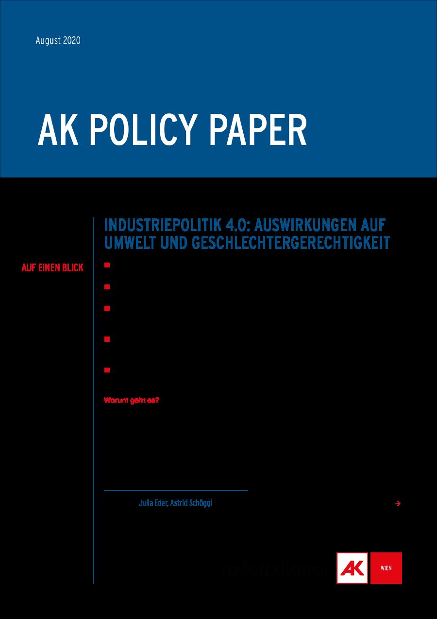 Policy Paper Industriepolitik Umwelt und Geschlechtergerechtigkeit © AK Wien