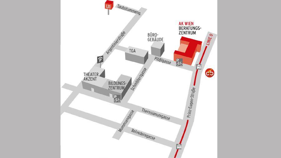 Anfahrtsplan zum Beratungszentrum AK Wien © AK Wien