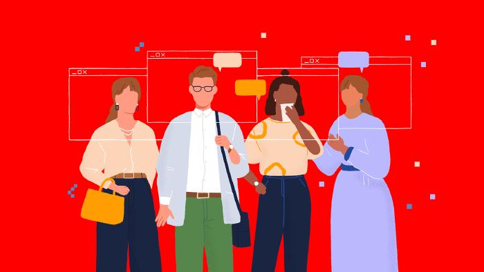 4 modisch gekleidete Menschen (3 Frauen, 1 Mann) stehen nebeneinander, um ihre Köpfe sind digitale Interfaces gespannt - das analooge Event geht im digitalen Raum weiter © Very Nice Studio