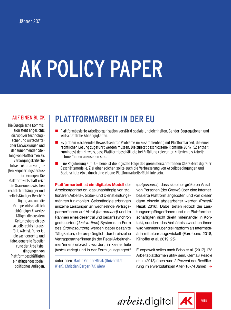 Policy Paper Plattformarbeit in der EU © AK Wien