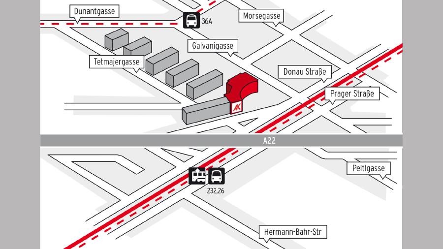 Anfahrtsplan zum Beratungszentrum Nord - Floridsdorf © AK Wien