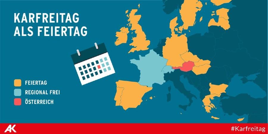 Infografik: Eine Europakarte markiert, in welchen Ländern der Karfreitag ein Feiertag ist. © Tea Mina Jaramaz, AK Wien