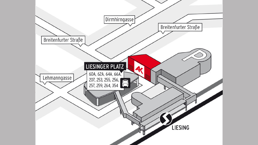 Anfahrtsplan zum Beratungszentrum Süd - Liesing © AK Wien