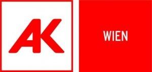 Das Logo der AK Wien besteht aus den Initialien A und K, wobei sich die beiden Buchstaben die vertikale Linie teilen © AK Wien