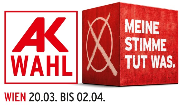 Logo AK Wahl Wien 2019, mit Datum © TBWA, Bearbeitung Andreas Kuffner, AK Wien