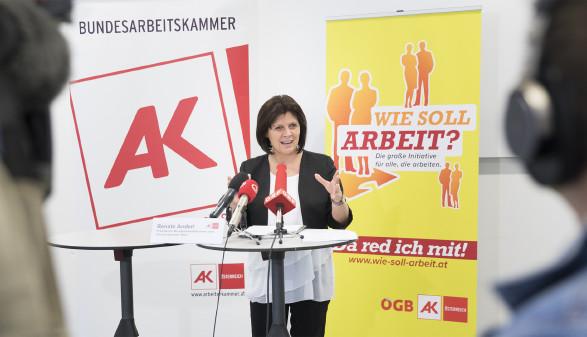 """Renate Anderl bei der Pressekonferenz """"Wie soll Arbeit"""" © AK Wien"""