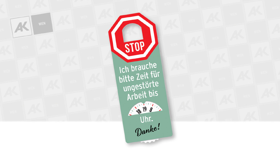 Konzentrationsuhr - Meine Zeit für ungestörte Arbeit © AK Wien