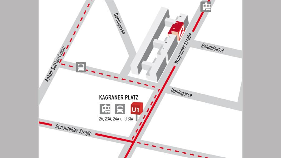 Anfahrtsplan zum Beratungszentrum Ost - Donaustadt © AK Wien